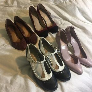 Size 7 heel and wedge lot maroon and purple